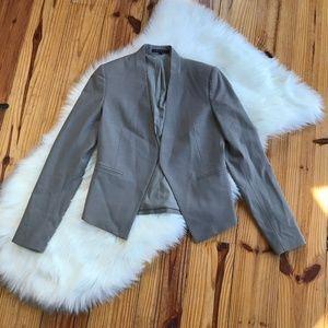 Theory Gray Virgin Wool Open Front Blazer 0